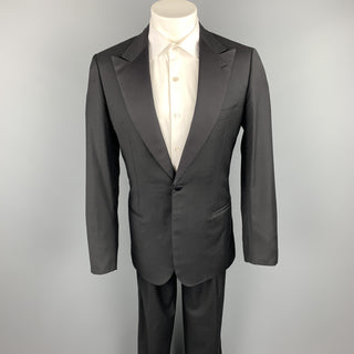 BRIONI Size 40 Long Black Wool Peak Lapel Tuxedo