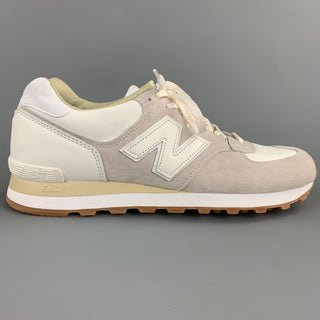 NEW BALANCE 575 Classic Size 10.5 White Two Toned Leather Grey Sneakers