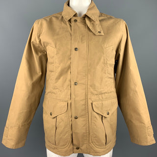 FILSON Size M Tan Cotton Zip & Snaps Patch Pockets Jacket