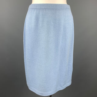 ST. JOHN Size 16 Blue Knitted Pencil Skirt