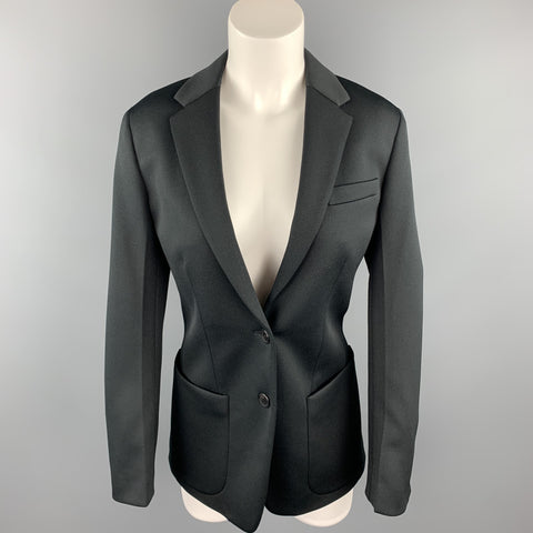 PRADA Size 0 Black Polyester Notch Lapel Oversized Blazer