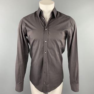 DOLCE & GABBANA Size S Brown Stripe Cotton Button Up Long Sleeve Shirt