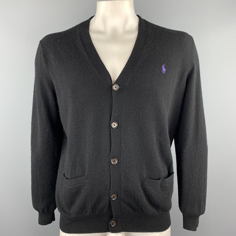 RALPH LAUREN Size L Black Merino Wool Buttoned Cardigan