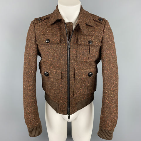 BURBERRY PRORSUM Fall 2011 Size 36 Brown Tweed Wool Zip Up Jacket