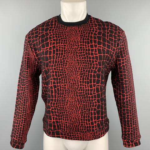 KENZO Size M Red & Black Alligator Cotton Blend Sweatshirt