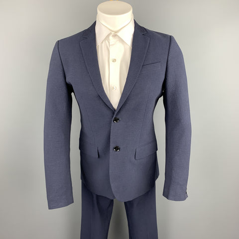 BURBERRY LONDON Size 36 Navy Seersucker Cotton Notch Lapel Suit