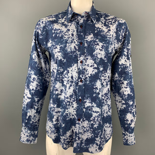 PAUL SMITH The Byard Size XL Navy Print Cotton Button Up Long Sleeve Shirt