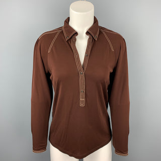 HERMES Size 6 Brown Jersey Contrast Stitch Blouse