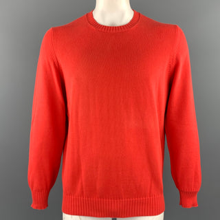 BRUNELLO CUCINELLI Size 44 Orange Knitted Cotton Crew-Neck Pullover