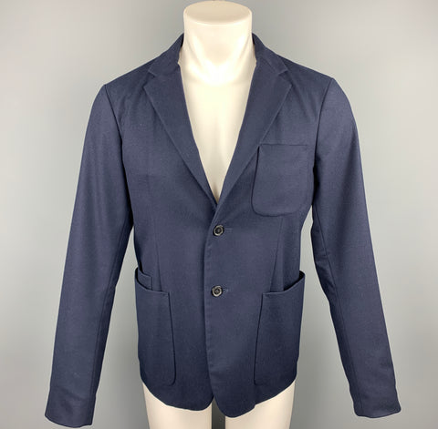 JIL SANDER Size 38 Navy Wool Notch Lapel Sport Coat