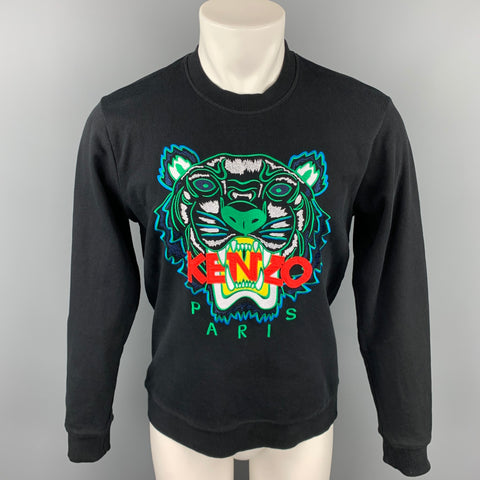 KENZO Size M Black & Green Tiger Embroidered Cotton Crew-Neck Pullover Sweater