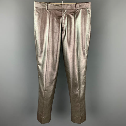 R. SCOTT FRENCH Size 31 Silver Metallic Wool / Polyester Zip Fly Dress Pants
