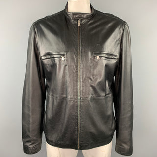 THEORY Size XXL Black Leather Zip Up Jacket