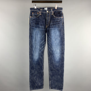 ETERNAL Size 30 Indigo Washed Cotton Button Fly Jeans