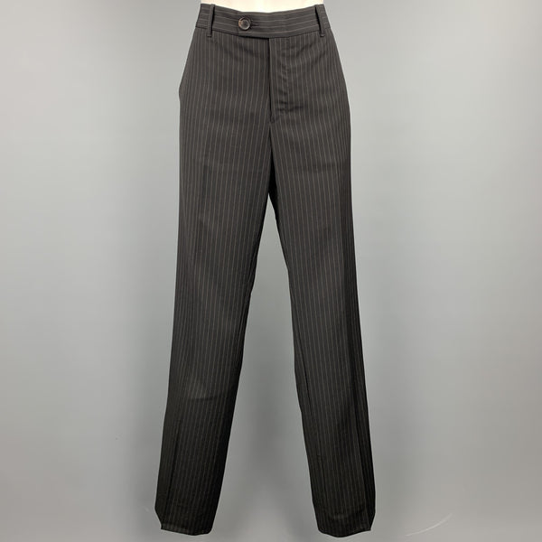 GUCCI Size 6 Black Pinstripe Wool Dress Pants