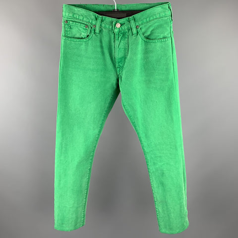 RALPH LAUREN Size 30 Green Denim Straight Button Fly Jeans