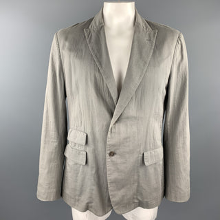 ADAM KIMMEL Size XL Grey Cotton Peak Lapel Casual Sport Coat