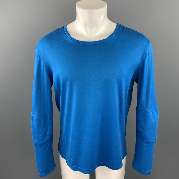 RAF SIMONS AUTUMN / WINTER 2009-2010 Size S Aqua Cotton Scoop Neck Long Sleeve T-shirt