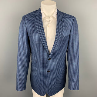 BRIONI Size 40 Navy & Blue Checkered Wool Notch Lapel Custom Sport Coat