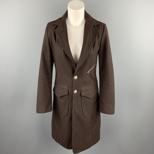 FRANKIE MORELLO Size S Brown Wool Patch Pockets Notch Lapel Coat