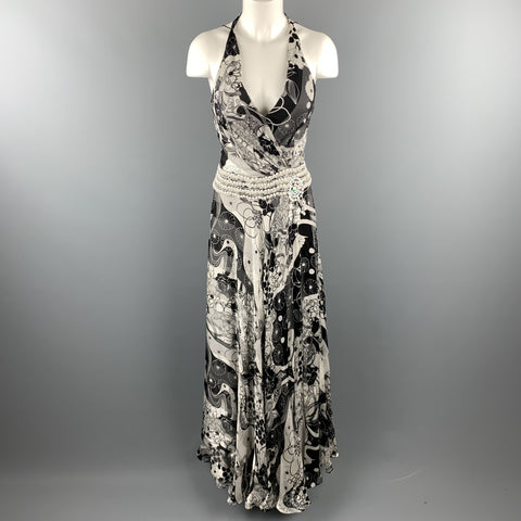 NAEEM KHAN Size 6 Black & White Floral Silk Beaded Halter Gown