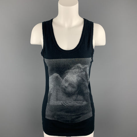ANN DEMEULEMEESTER Size 6 Black Graphic Cotton Casual Top