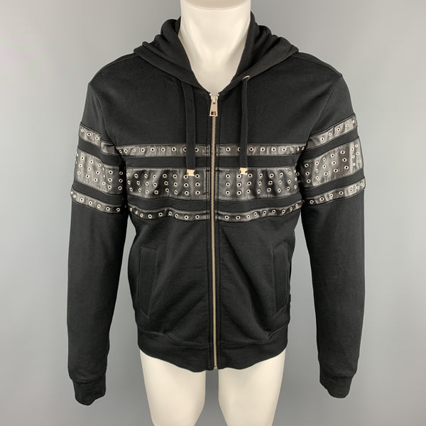 JUST CAVALLI Size S Black Cotton Grommets Leather Trim Hoodie Jacket