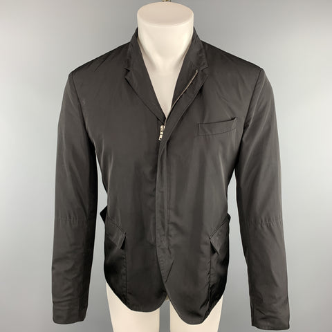 NEIL BARRETT Chest Size S Solid Black Polyester Full Zip Jacket