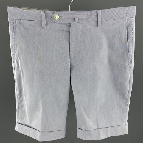 BARNEYS Size 30 Navy & White Seersucker Cotton Blend Zip Fly Shorts