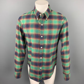 BAND OF OUTSIDERS Size L Green & Navy Plaid Cotton Button Down Long Sleeve Shirt