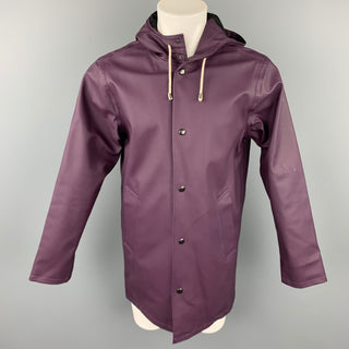 STUTTERHEIM x BARNEYS NEW YORK Size S Purple Coated Cotton / Polyester Snaps Raincoat