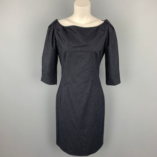 CoSTUME NATIONAL Size 8 Charcoal Heather Wool / Cotton Boat Neck A-Line Dress