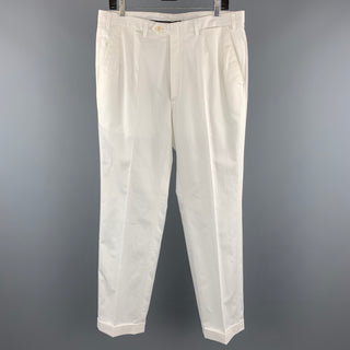 BRIONI Size 34 White Solid Cotton Zip Fly Dress Pants