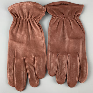 VINTAGE Size L Burgundy Solid Leather Gloves