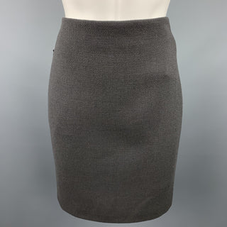 AKRIS Size 4 Grey Wool Back Pencil Skirt