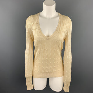 RALPH LAUREN Black Label Size M Cream Cable Knit Silk Sweater