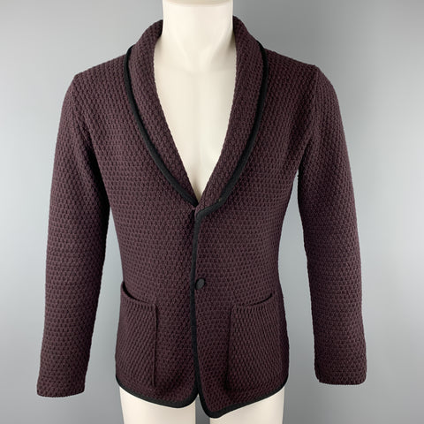 LARDINI Plum Knitted Wool Shawl Collar Chest Size M Sport Coat