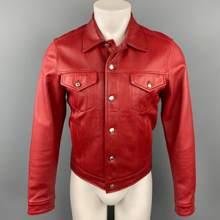 PAUL SMITH Size M Red Leather Trucker Jacket