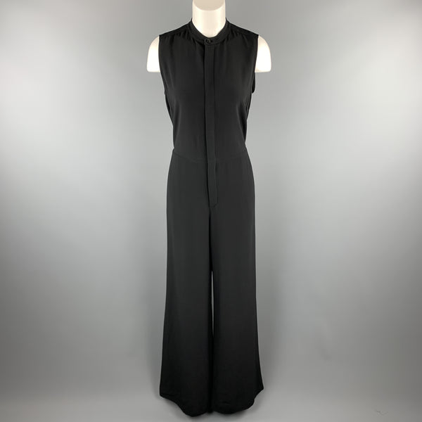 RALPH LAUREN Size 6 Black Crepe Sleeveless Band Collar Wide Leg Jumpsuit