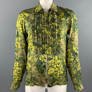 DRIES VAN NOTEN S/S 2020 Size L Green Print Viscose Zip Up Long Sleeve Shirt