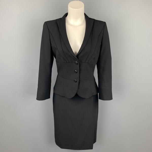 GIORGIO ARMANI Size 4 Black Wool Pencil Skirt Suit