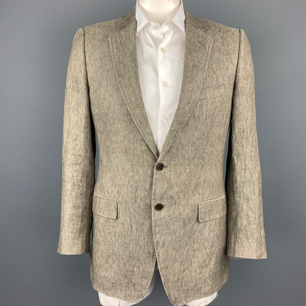 DOLCE & GABBANA Luxury Size 42 Taupe Heather Linen Notch Lapel Sport Coat
