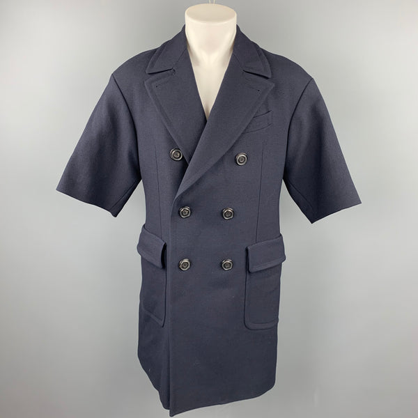 WOOSTER + LARDINI Size 38 Navy Wool Double Breasted Short Sleeve Coat