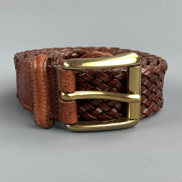 VINTAGE Woven Size 36 Brown Leather Belt