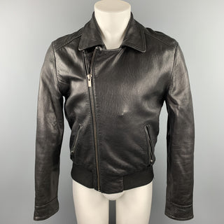 BLK DNM Size M Black Leather Asymmetrical Zip Up Jacket