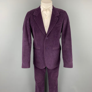 AGNES B. Size 40 Purple Corduroy Cotton Notch Lapel Suit