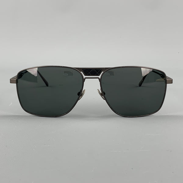 BOTTEGA VENETA Charcoal Metal Intrecciato Panel Sunglasses