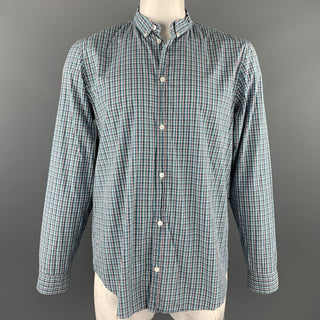 MARC by MARC JACOBS Size XL Aqua & Pink Plaid Cotton Long Sleeve Shirt