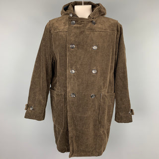 45rpm Size XL Brown Corduroy Double Breasted Hooded Coat