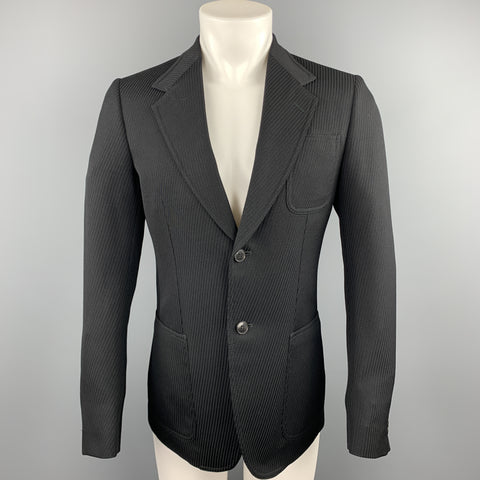 GUCCI Size 38 Regular Black Textured Wool Notch Lapel Sport Coat